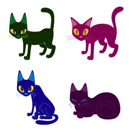 sentarse: cuatro gatos en calma, hambre, miedo, latente