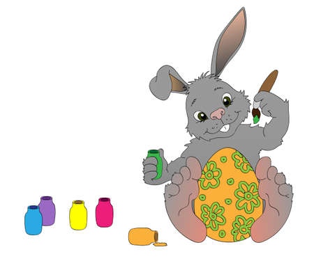 Grey Bunny coloring Easter egg