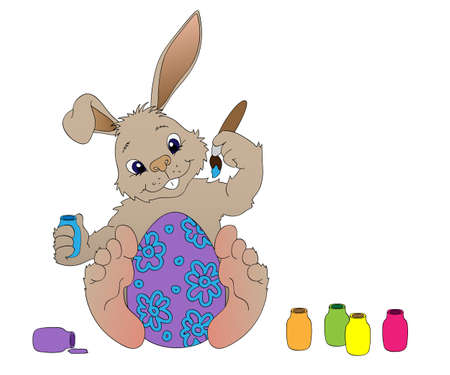 Beige Bunny coloring Easter egg