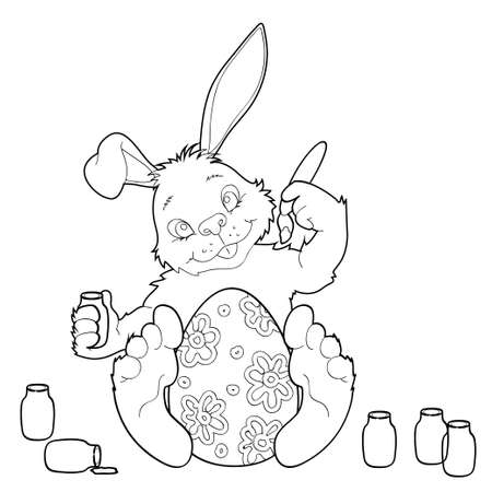 Coloring Easter bunny with egg coloring Vector