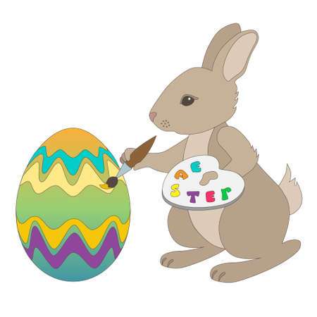 Easter Bunny coloring Easter eggs on a white background Stock Vector - 12989670