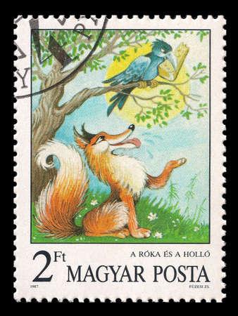 Unsinn: Gel�schter Magyar Posta Briefmarke im Jahr 1987 mit der Kr�he und der Fuchs