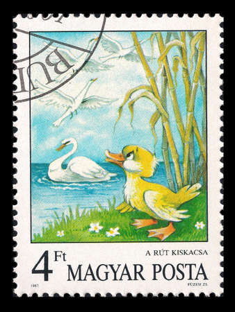 Slaked Magyar Posta postage stamp in 1987 with the ugly duckling and swans