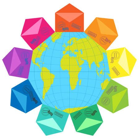 Envelopes of different colors around the globe Vector
