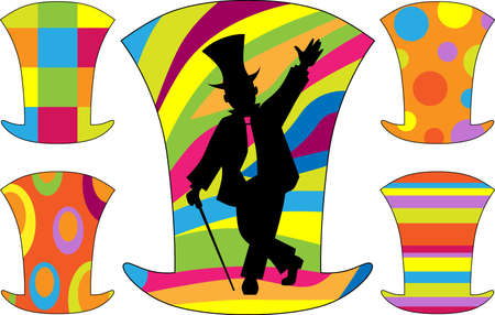 Silhouette of a dancing boy in a hat and a cane on the background of colored cylinder