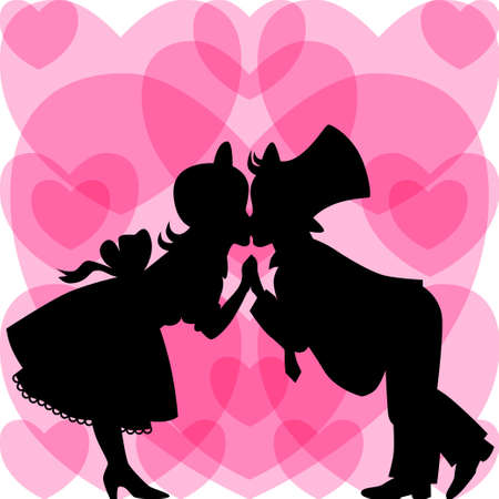Silhouette of kissing a boy and a girl on a background of hearts