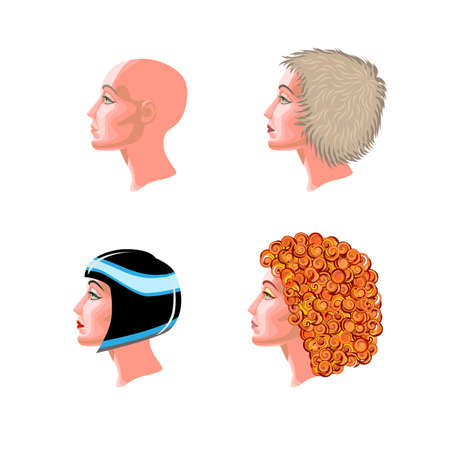 bald girl: four female profile  bold, bright fluffy, curly red hair and shiny black