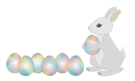 gray bunny holds in paws an Easter egg, lying next six eggs Illustration
