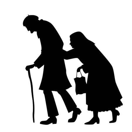 famille malheureuse: silhouette de couple marchant vieil homme avec une canne et une vieille femme avec un sac