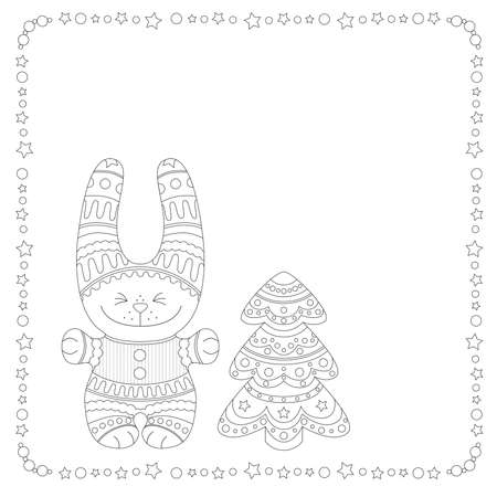Ð¡oloring decorative funny bunny and Christmas tree