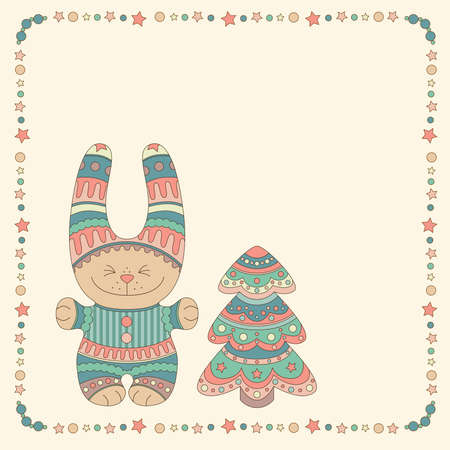 Ornamental bunny with a Christmas tree in a frame of stars and balls Illustration