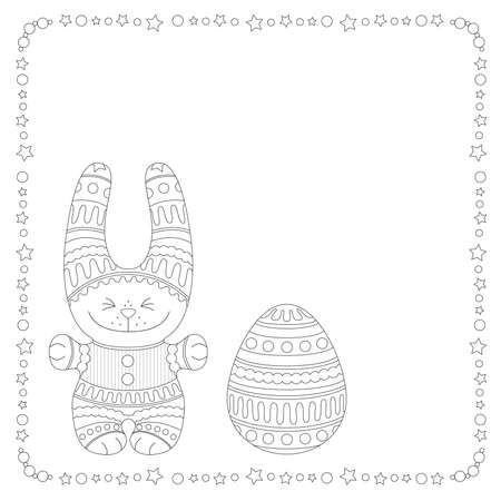 Ornamental bunny with a Easter Egg in a frame of stars and balls, picture for coloring Illustration