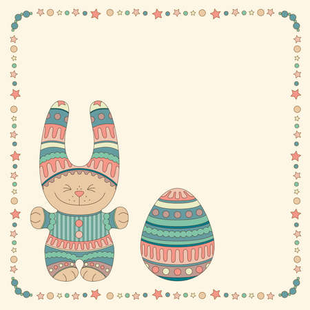Ornamental bunny with a Easter Egg in a frame of stars and balls Illustration