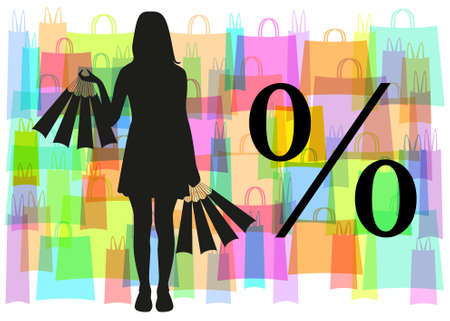 Black silhouette of the girl with packages in hands on a background of colorful transparent bag and black sign discounts Illustration
