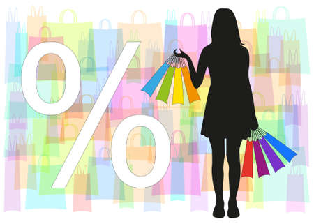 black silhouette of a girl with multi-colored bags in hand on a background of colorful transparent bag and white sign discounts Illustration