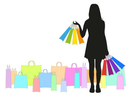 black silhouette of a girl with many colored bags in their hands and a lot of colored packages around Illustration