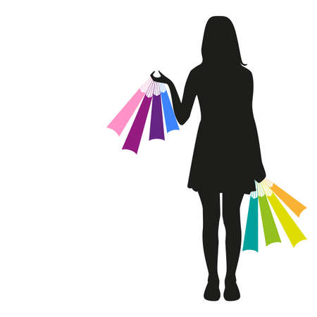 black silhouette of a girl with colorful bags in hand on a white background Illustration