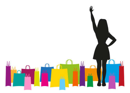 silhouette of a girl waving hand with colorful packages around Vector