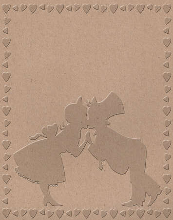 bulbous silhouette of a boy and girl kissing in a frame of hearts photo