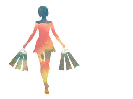 Silhouette of girls carrying bags, painted in watercolor on white background