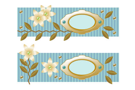 decorative element to mark text or photos, asymmetrical design with flowers, beads, leaves, textured background in turquoise Stock Photo