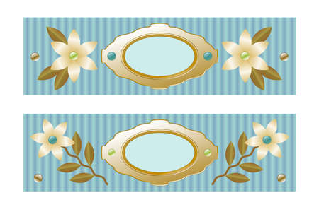 decorative element to mark text or photos, symmetrical design with flowers, beads, leaves, textured background in turquoise