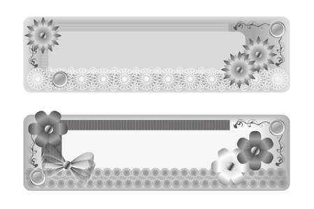 decorative element to mark text, asymmetrical design with flowers, beads, ribbons and lace, monochrome Stock Photo