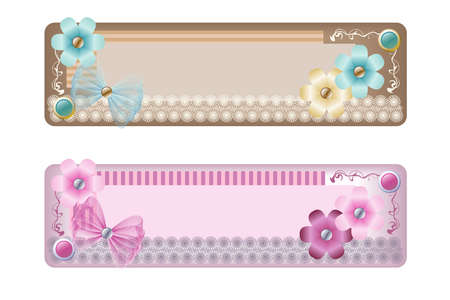decorative element to mark text, asymmetrical design with flowers, beads, ribbons and lace, two color options