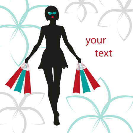 silhouette of a girl in sunglasses with packages on the flower background for your text