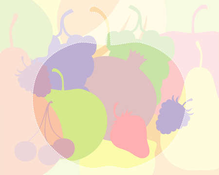 colorful silhouettes of fruit and berries, light colors and a silhouette of an apple with a dotted outline