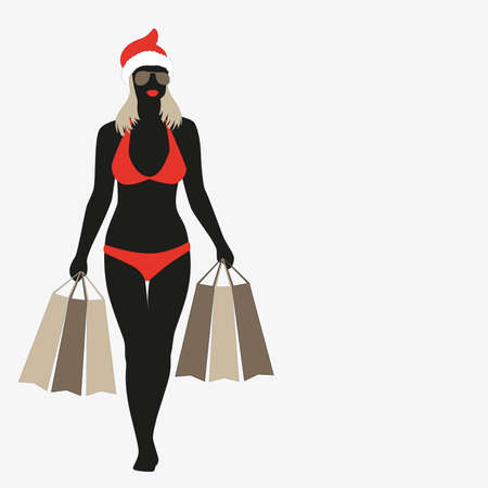 black silhouette of a girl in a bathing suit, sunglasses and cap of santa claus with shopping