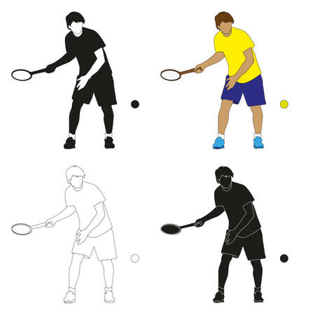 four silhouettes of tennis players- color, black and white, black with a white outline and white with a black outline