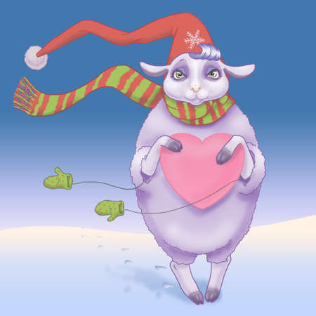 Sheep in the winter suit with heart in hands