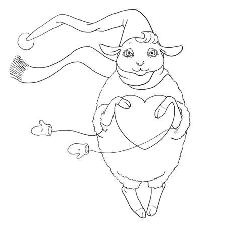 The contour for coloring of Sheep in the winter suit with heart in hands