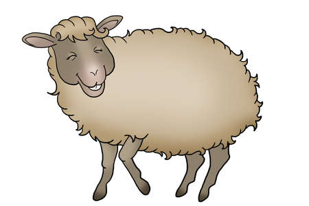 Fluffy smiling sheep on a white background Stock Photo
