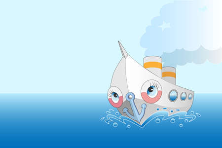 Cute cartoon steamer at sea with space for text Illustration