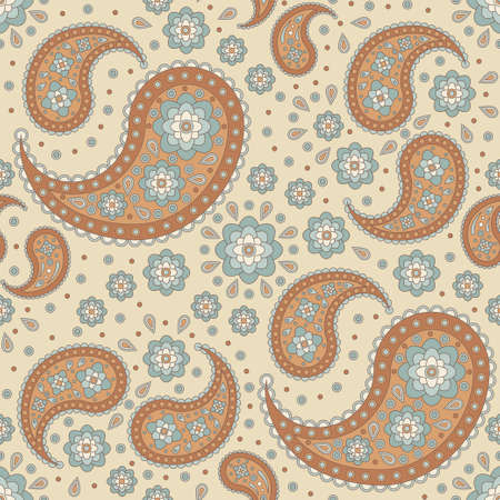 seamless background with paisley patterns in retro colors
