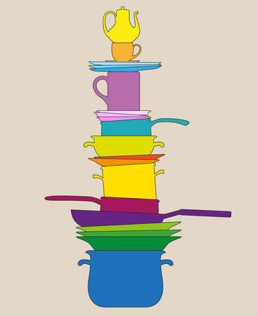 rasterized illustration - The pyramid from multi-colored silhouettes of various items of cookware Banco de Imagens