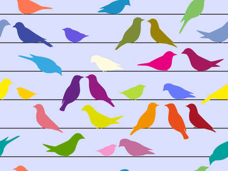 Rasterized seamless pattern of colored silhouettes of birds sitting on wires against a blue background