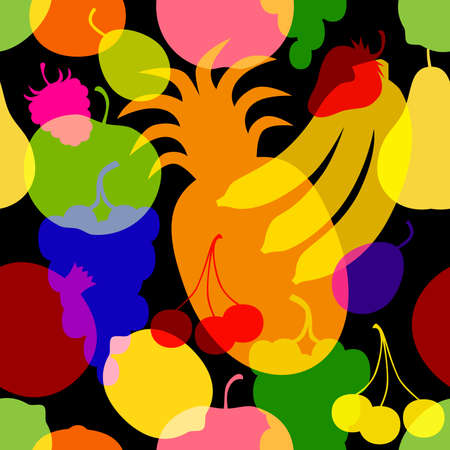 Rasterized seamless pattern of colored silhouettes fruits and berries on a black background.