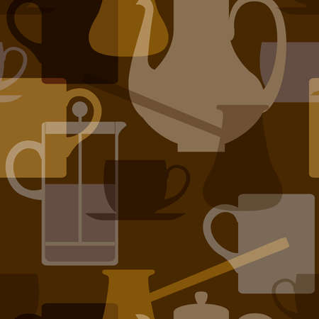 Rasterized seamless pattern of silhouette coffee utensils on a dark background