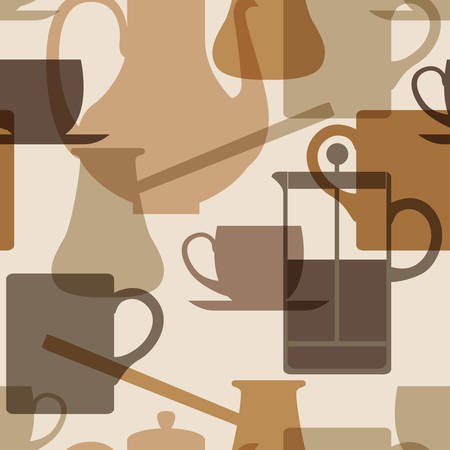 rasterized: Rasterized seamless pattern of silhouette coffee utensils on a light background Stock Photo