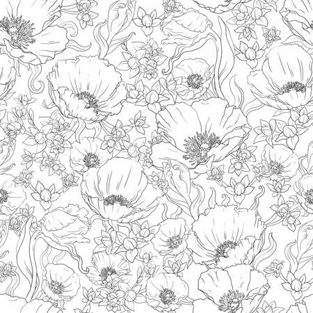 Seamless floral ornament from the contour drawing of poppies, buds and leaves