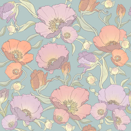 seamless floral ornament of poppies, buds and leaves on gray-green background