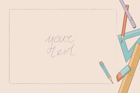 Beige background for text with frame and tools for sketching