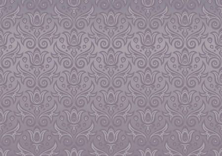 Seamless ornament gray purple color of the flowers and drops Illustration
