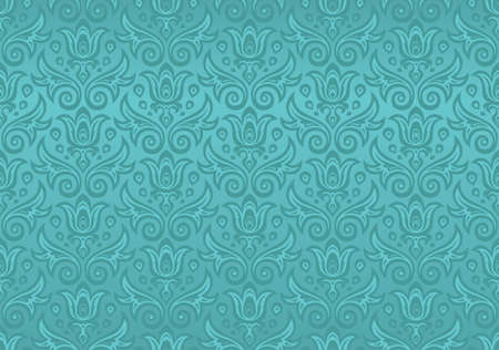 Seamless ornament in turquoise with flowers and drops