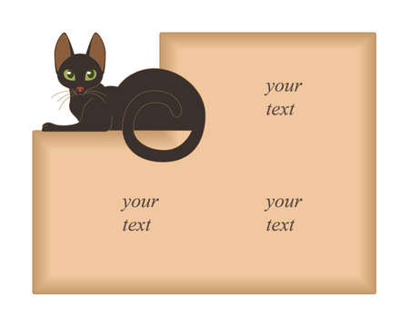 Beige background for text with brown lying cat