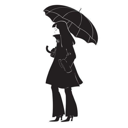 Black silhouette of a girl in a coat with a umbrella
