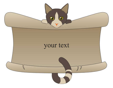 The spotted cat holding a sheet of beige paper for your text Illustration